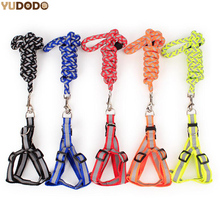 3 Color Reflective Dog Leash Harness Nylon Control Restraint Pet Night Safety Traction Set Fluorescence Rope Dog Lead Leashes