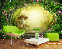Custom 3d wallpaper kids children cartoon fog tree mural fairy tale mushroom cottage in mystery forest sofa bedroom living room