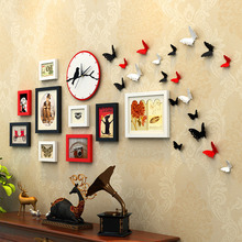 New Design Butterfly Decor Wall Hanging Photo Frame Wirh Clock 9 pcs/set Picture Framse Combination Set Wooden Photo Frames