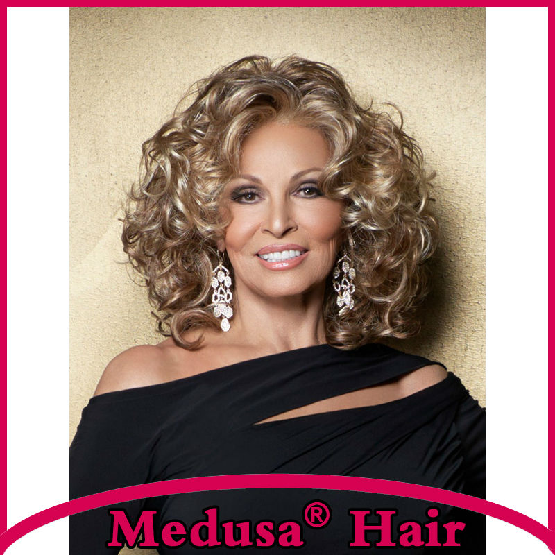 Medusa hair products: Free shipping Synthetic lace front wigs for women Medium length curly Mix color wig with bangs SW0131A<br><br>Aliexpress