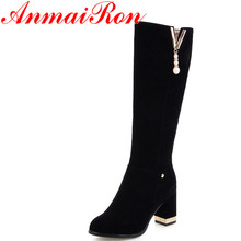 ANMAIRON Black Motorcycle Boots Beading Charms Mid-calf Boots for Women High Heels Round Toe Platform Shoes Woman Winter Boots