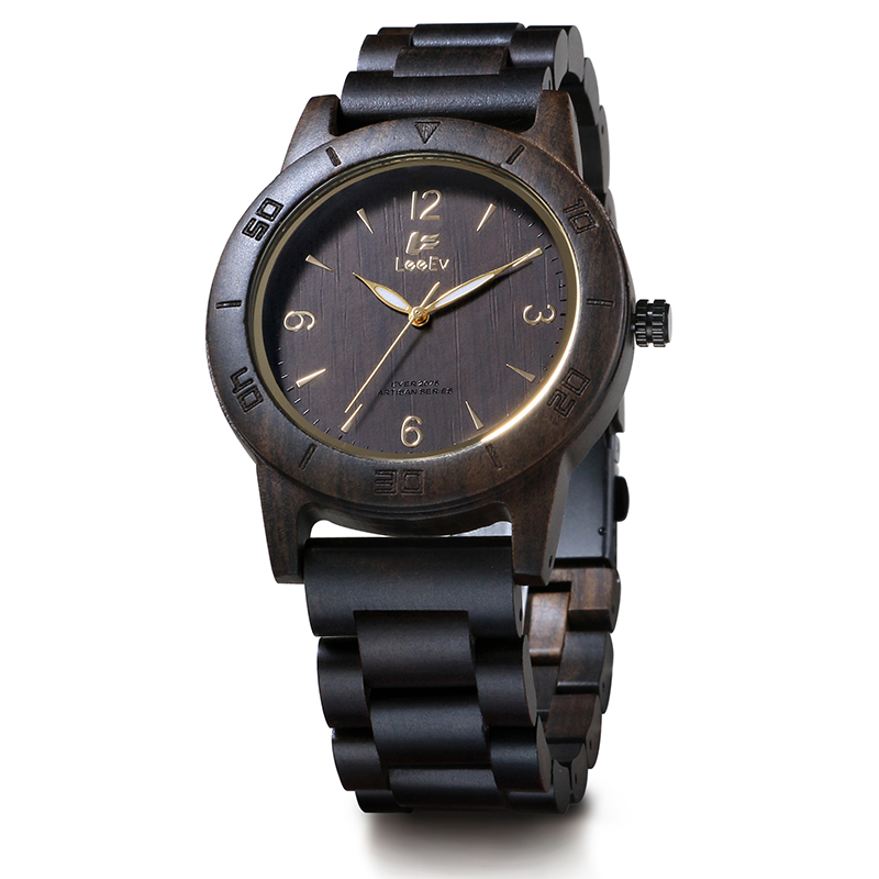 LeeEv EV2075 Mens Handmade Natural Black Sandal Wood Watch Quartz Light Weight Vintage Wooden Wrist Watch<br>