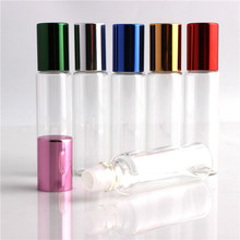 10pcs / lot 10ml glass perfume bottle wholesale refillable rolls on the bottle of essential oil glass vials with bowls