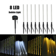 8 LED Solar Light Rechargeable Pure/Warm White Acrylic Bubble Stick LED Outdoor Light Garden Landscape Lighting Lawn Lamp
