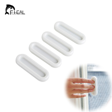 FHEAL 4pcs/set Multifunction Paste Type Doorknobs glass window cabinet drawer wardrobe Open Door Auxiliary Sliding Handles Rails