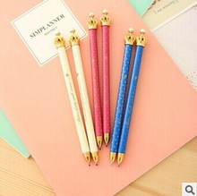 3Pcs/lot Crown Ballpoint Pen Cartoon School Stationery 0.5mm Blue Ink Office Accessories Students Gift School Supplies Cute