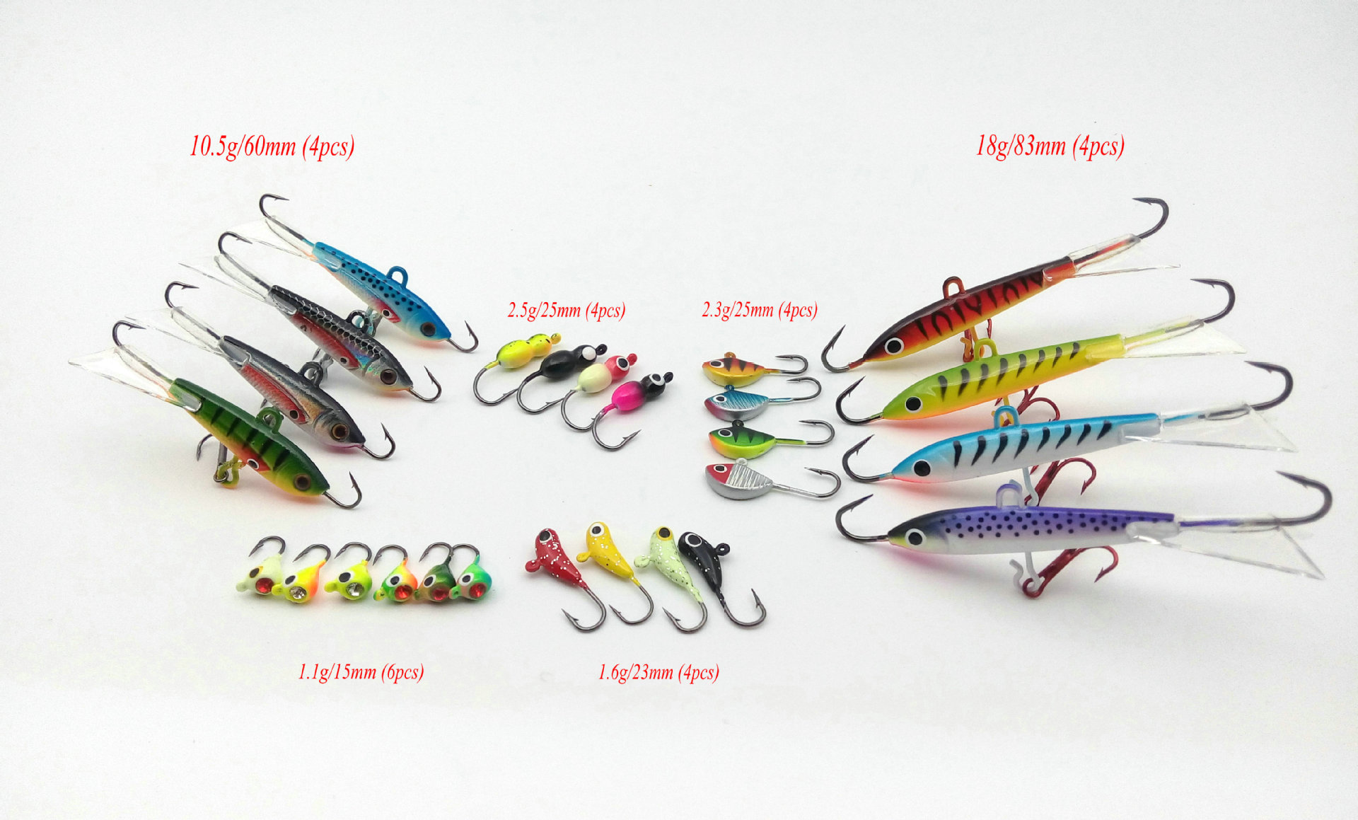 26pcs/Set Classic ice fishing lure and hook Mini lead fish hook in winter<br>