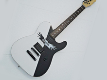 White Electric Guitar with Black and White Angel Pattern,Rosewood Fretboard,Black Hardwares,offering customized services(China)
