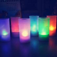 Hot Sale Flameless LED 7 Colors Changing Romantic Flicking Battery Candles Tea Night Light Tealights And Cup For Party/Bedroom(China)