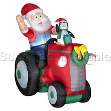 270cm/9ft polyester outdoor giant tractor christmas inflatable decoration christmas inflatable santa truck for holidays