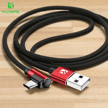 FLOVEME 90 Degree Micro USB Cable Xiaomi Redmi 4X Note 4 2.4A Fast Charging Cable USB Phone Charger Data Cables Cord Wire 1M