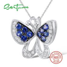 Silver Butterfly Pendant Fit For Necklace For Women Blue White CZ Stone Solid 925 Sterling Silver Pendant Fashion Jewelry