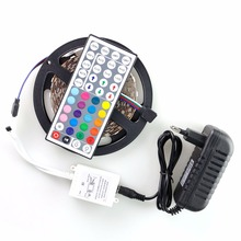 5050SMD RGB Led Strip Light DC 12V 5M 60leds/M Colorful 3A Adapter 44key Remote Controller Flexible Light Led Ribbon Tape()