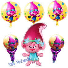 Poppy foil balloons trolls balloon 6pcs/set happy birthday party decorations kids toys gifts halloween supplies ballons(China)