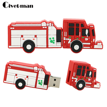 Hot cartoon pendrive fire truck usb flash drive Fire engine pen drive 4GB 8GB 16GB 32GB Usb flash memory sticks(China)