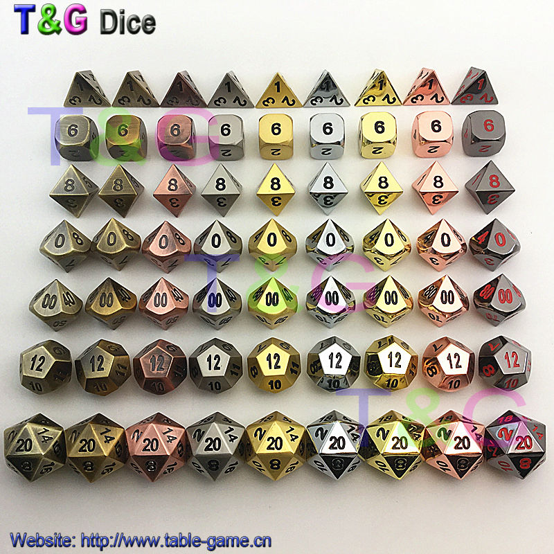 TOP Quality 2016 Hot Metal Dice 7 Dice set d4 d6 d8 d10 d% d12 d20 for Board Games Rpg Dados jogos dnd with box for gift<br><br>Aliexpress