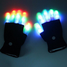 LED Gloves Luminous 5 Finger Light Gloves Laser Led Party Supplies Dancing Club Props Light Up Toys Glowing Sticks Cool Gloves(China)