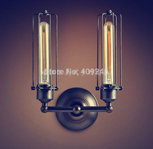 Metal Doulbe Tube LOFT RARE Vintage Industrial Edison Wall Mirror Lamp Light Black Paint Rusty AC110V or 220V