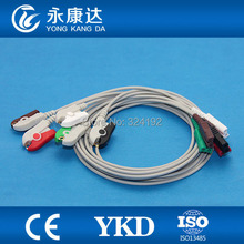 2pcs/pack Multifunction LL style ECG leadwires,5-lead/AHA/clip ecg leadwires(China)