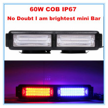 strobe warning COB LED mini light bar for tailer truck/police/ambulance /fire 60W super brightest red blue amber