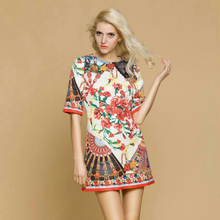2017 Spring & Fall Italy Sicily Fan Print  Carnation Print  Beautiful Short Sleeve Slim DobbyTop grade Casual Dress