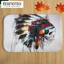Skull Print Door Mat Floor Carpet 40x60cm/15.6x23.6'' Coral Fleece Rug Doormat For Hallway Non-slip 1PCS/Lot(China)