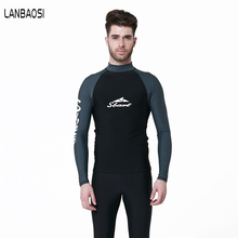 New Wetsuit For Men Surfing Windsurf Snorkeling t Shirt Elastic TShirt Professional Swimwear Men's Protection Rash Guard Tops(China)