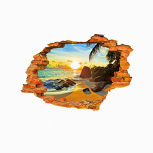 Sand beach sunny 3D wall stickers for kids rooms home decor living room bedroom creative art decals removable wallpaper poster(China)