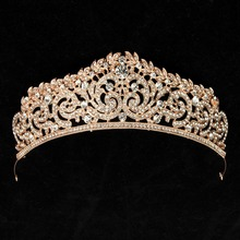 Gold Color Classic Clear Crystal Wedding Tiara Crown Bridal Pageant Hair Accessories Bride Head Jewelry Women Diadem Hairbands(China)