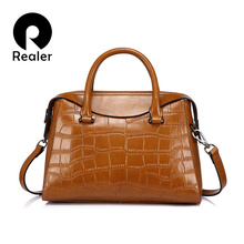Realer brand women handbag high quality women shoulder bagssplit leather tote bag with crocodile pattern ladies messenger bags(China)