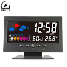 Voice Control Digital Wireless Colorful Screen USB Backlit Weather Station Thermometer Hygrometer Clock Temperature Calendar(China)