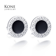 UZone New Pattern Stud Earrings Black Stainless Steel Earring For Women Birthday Gift Wholesale Drop Ship(China)