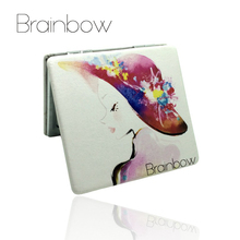 Brainbow PU Metal Mirrors Makeup Notebook Design Portable Pocket Mirror Colorful Fold Double Sides Personalized Compact Mirror(China)