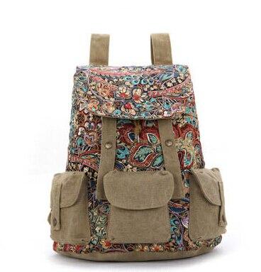 Ethnic Vintage Women Canvas Backpack Female Canvas Bags Rucksack Girls Casual School Mochila Feminina Floral Shoulder Bag Lady<br><br>Aliexpress