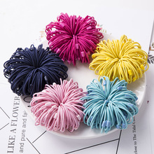 100PCS 2mm thickness 9.0cm length Colorful Kids Elastic Ponytail Holders hair ties hair bands with rectangle beads connection(China)