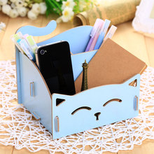 Hoomall Wooden Storage Box For Jewelry Organizer For Cosmetics Cute Cat Office Pen Box Container Desktop Storage Assembly DIY
