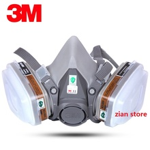 3M 6001 6200 Respirator Gas Mask 7Suits Dust Filter Paint Dust Spray Anti-Fog Haze Pesticide Formaldehyde Particles Half Mask