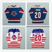 Custom XS-5XL Lee Fogolin Team USA Canada Cup White Blue Hockey Jersey Free Shipping(China)