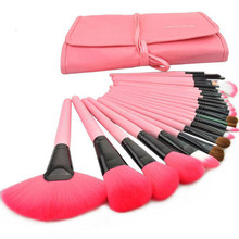 Professional Make up Brush Set 24pcs Makeup Brushes & Tools face facial eyebrow brush kit make-up With Roll Up Leather Case Pink(China)