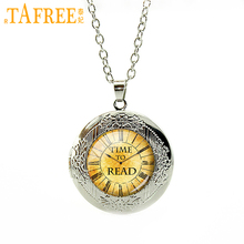 TAFREE TIME TO READ Vintage Pendant Necklace Book Lover Quote Jewelry Gift Love Reading Glass Cabochon locket necklaces N481(China)
