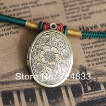 Vintage Photo Locket Multi-color Plated European Charms Oval Flower Marked Wish Box Prayer Frame Pendant Bulk Wholesale