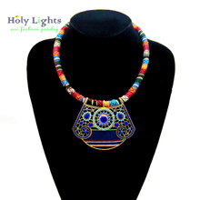 Female pendant necklace muticolor collares grandes de moda 2017 ethnic mujer boho hippie bohemian costume jewellery for women