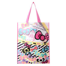 18e27f0525f9 Cute Cartoon Hello Kitty Cat Plastic Woven Bag Eco Reusable Shopping Bag  Pink Large Tote Handbag