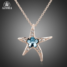 AZORA Starfish with Blue Wintersweet Rose Gold Color Stellux Austrian Crystal Pendant Necklace TN0084(China)