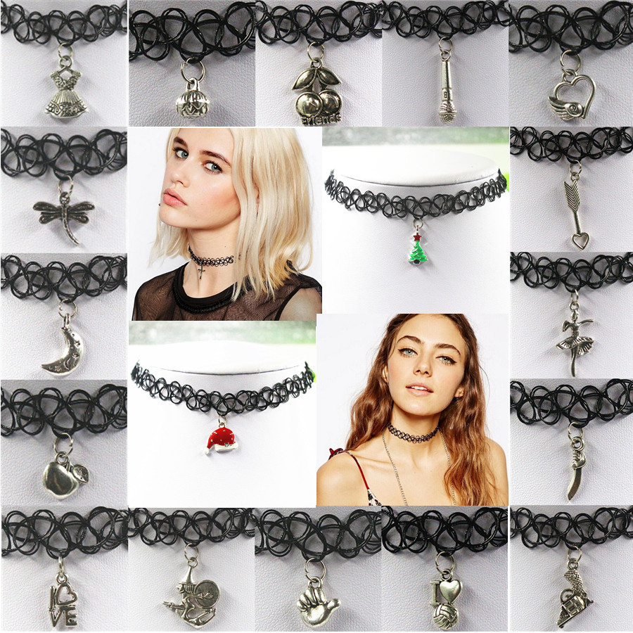 Tattoo Choker Necklace With Tibet Silver Charms Pendant Fashion Handmade Vintage Stretch Gothic Punk Grunge Elastic 18 Styles In Pendants From Jewelry