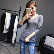 Korea 16 autumn winter female new style pure color knitted sweater lady casual v-neck sexy pullovers tight women common tops 016(China)