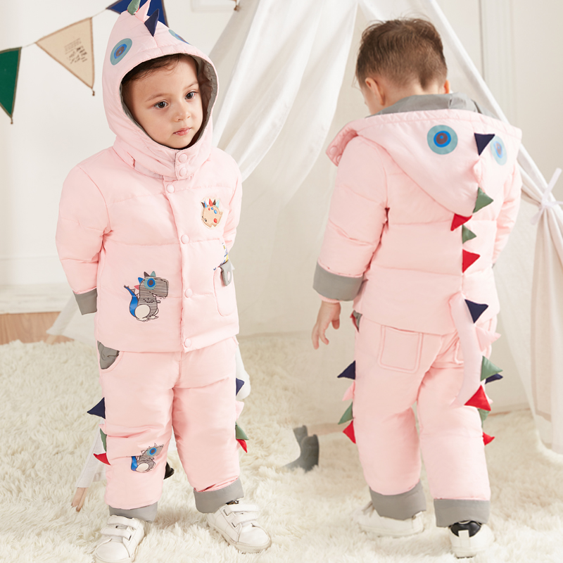 Cartoon Baby Children Boys Girls Winter Earm Down Jacket Suit Set Thick Coat+Jumpsuit Clothes Set Kids Jacket Animal Dinosaur<br>