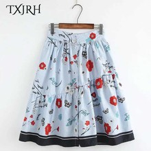 TXJRH Vintage Sweet Blue Flower Floral Striped High Waist Button A-Line Skirt Stylish Women Knee-Length Swing Skirt Q17-03-36