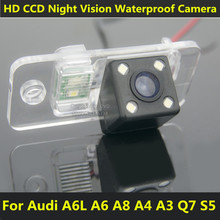 For Audi S5 Q7 A8 A6 A6L A8 A4 A3 Car CCD 4 LED Night Vision Backup Rear View Camera Waterproof HD 170 Degree Parking Assistance