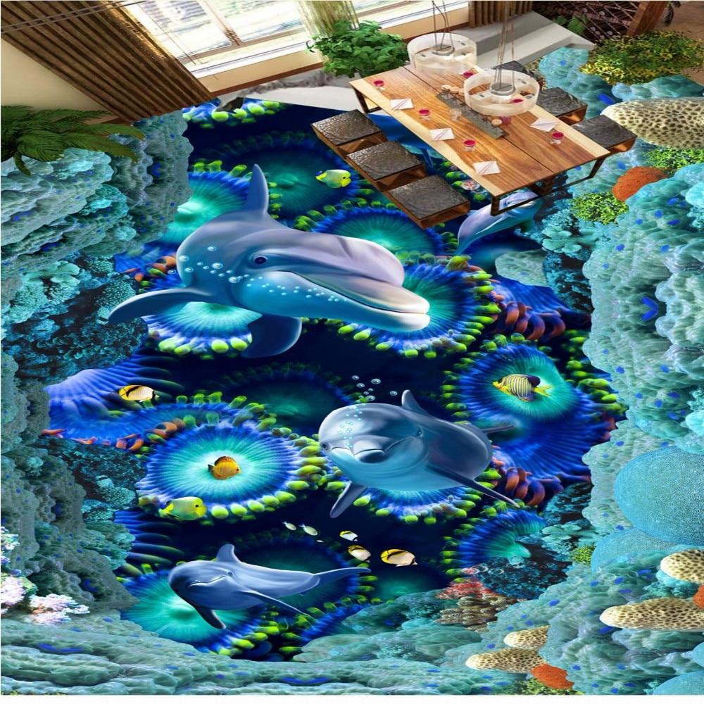Free Shipping Underwater world dolphin 3D painting floor waterproof living room bedroom study flooring wallpaper mural<br>
